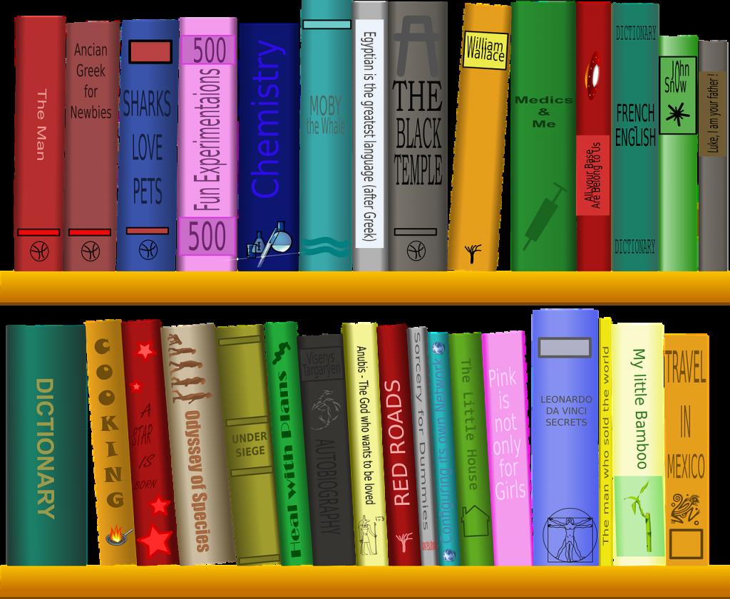shelf, books, library