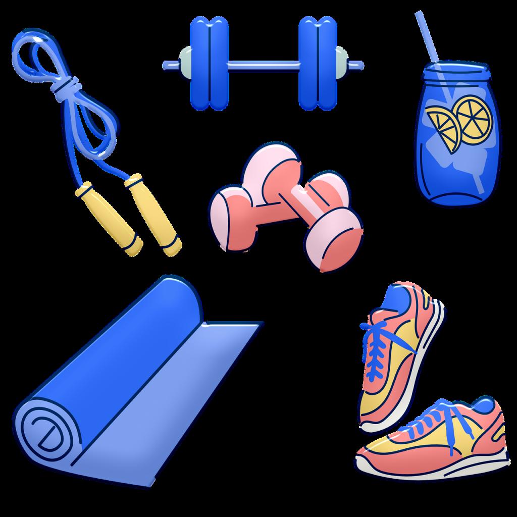 workout equipment, weights, sports drink