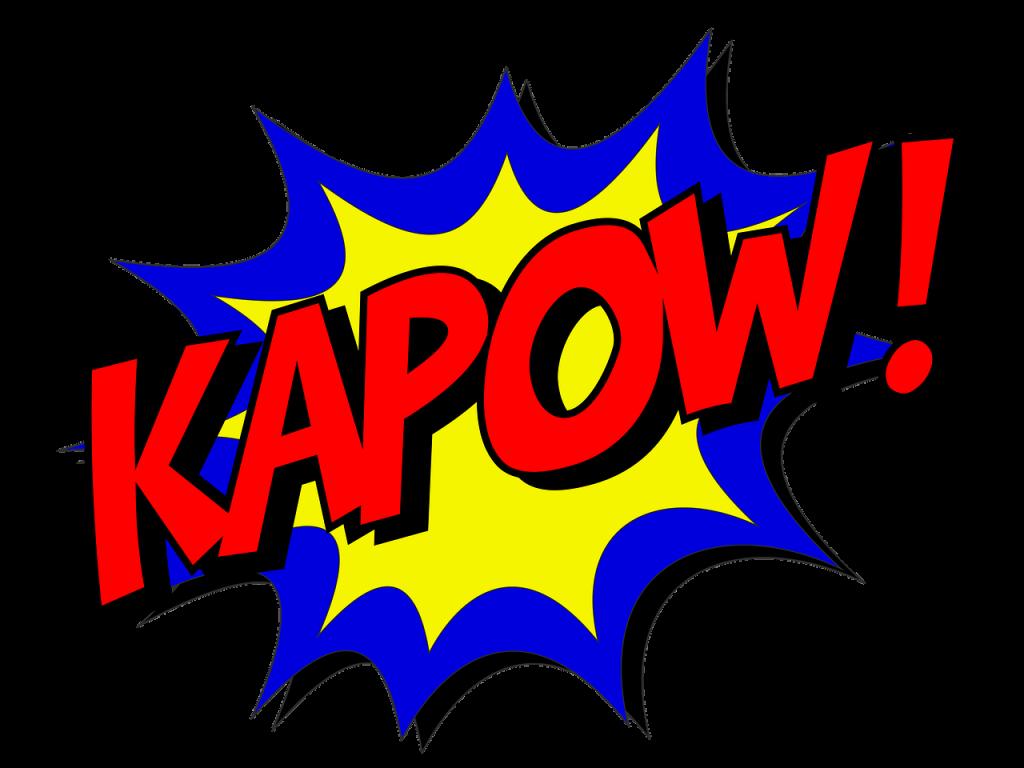 kapow, comic, comic book