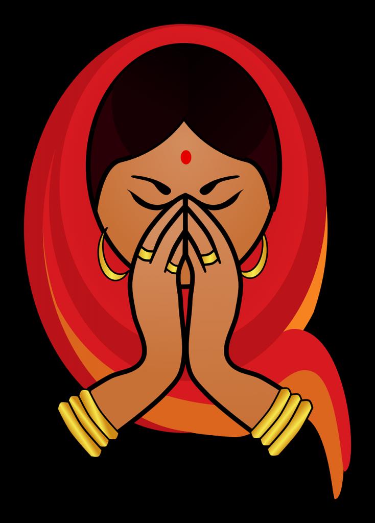 girl, greeting, hindu