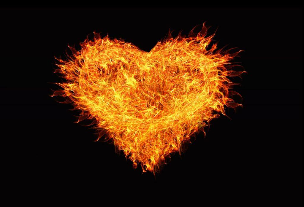 heart, love, flame
