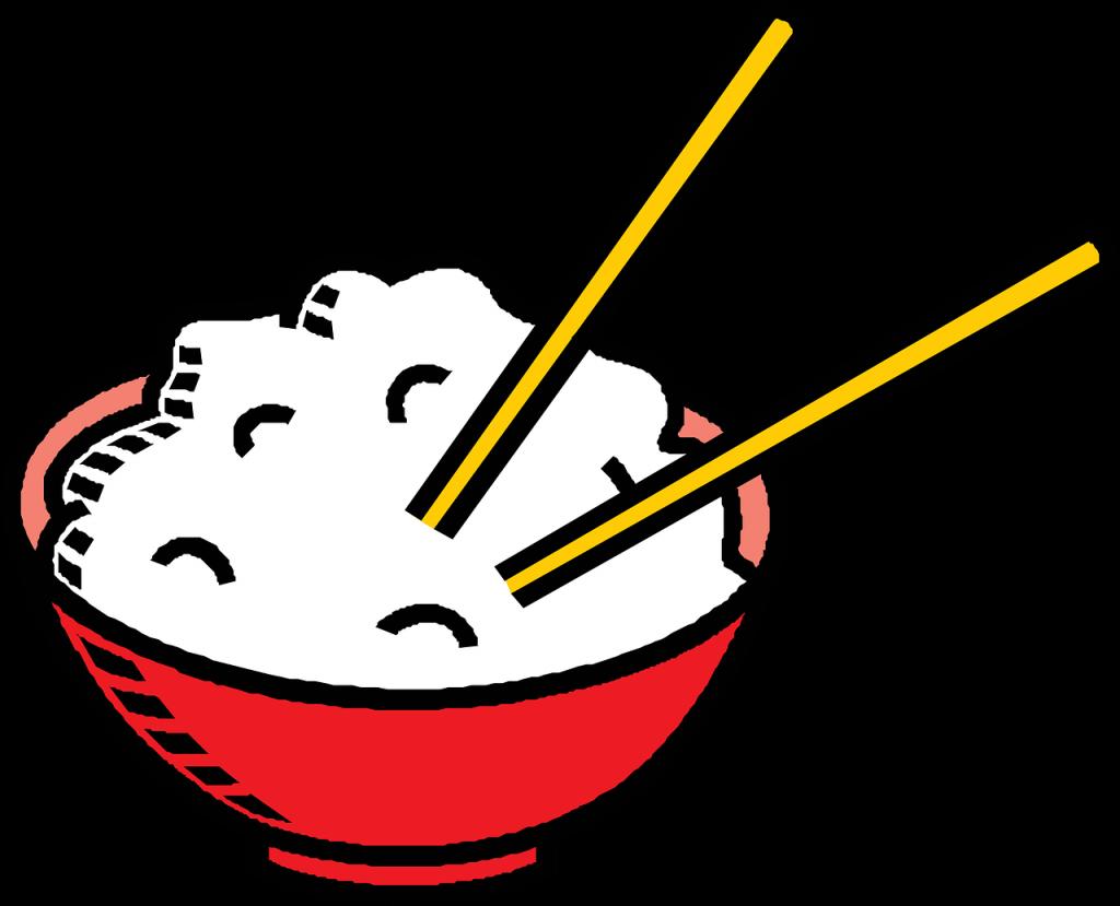rice, chopsticks, bowl
